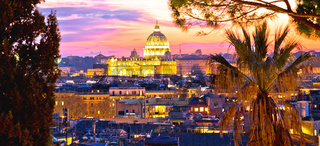 Ancient Rome rooftops and Vatican evening panoramic view