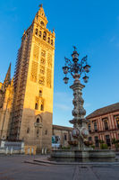The Giralda Bell Tower at first sunlight, Seville, Andalusia, Spain, Europe