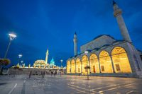 Night view of Selimiye Mosque and Mevlana Museum in Konya, Turkey
