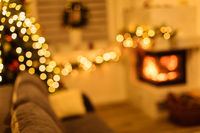 Christmas tree and home holiday decor on fireplace