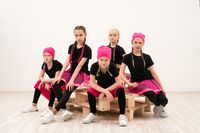 Young girls in bandanas group portrait