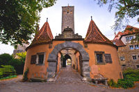 Rothenburg ob der Tauber. Western town gate Burgtor) of medieval German town of Rothenburg ob der Tauber