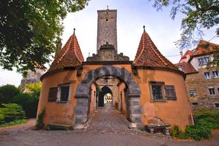 Rothenburg ob der Tauber. Western town gate Burgtor) of medieval German town of Rothenburg ob der Tauber