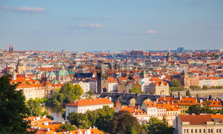 Overview of old Prague with Charles bridge