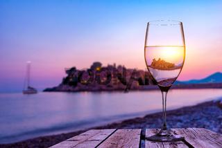 Wineglass and Sveti Stefan