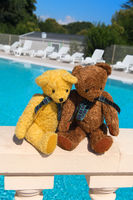 Two toy bears in love at swimming pool