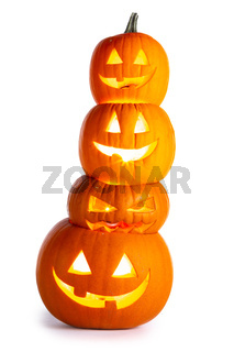 Stack of Halloween Pumpkins on white