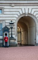 Traditional soldier in bearskin guarding Buckingham Palace