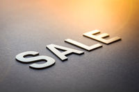Word sale written with white solid letters