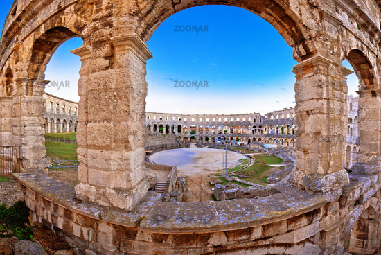 Arena Pula historic Roman amphitheater view