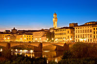 Arno river waterfront and Florence landmarks evening view