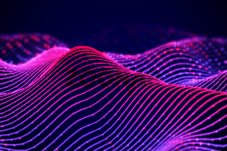 3D Sound waves with color dots. Big data abstract visualization.