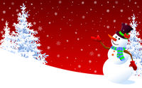 Cute snowman greeting on a red winter background