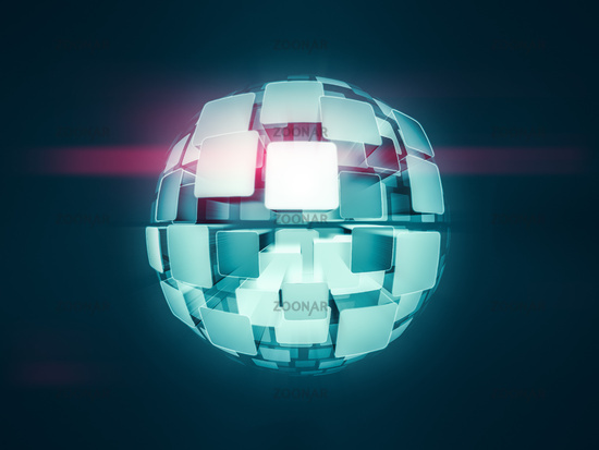 glowing screens globe sphere
