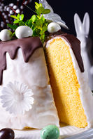 Easter cake with sugar and chocolate glaze