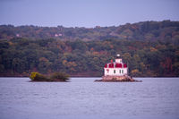 Port Ewan Lighthouse Flashes Bright in the Hudson River New York State