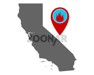 Karte von Kalifornien und Pin mit Feuerwarnung - Map of California and pin with fire warning