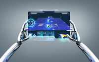 robot hands with gps navigator on tablet pc