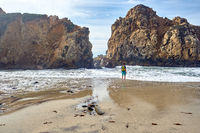 Man at Pfeiffer Beach, California