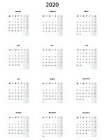 Calendar  2020, simple vector template -
