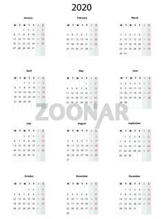 Calendar  2020, simple vector template -