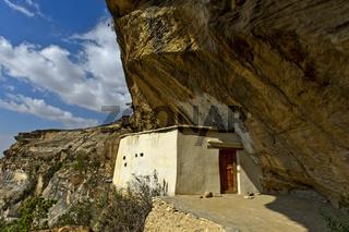 Eingang zur orthodoxen Felsenkirche Petros and Paulos Melehayzengi