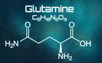 Chemical formula of Glutamine on a futuristic background