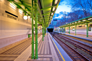 Vienna Stadtpark underground train Ubahn station view