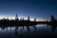 Summer night beside a river, Lapland, Sweden