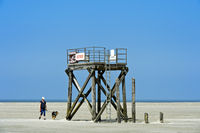 Rescue tower at the Westerhever beach, Wadden Sea National Park, Westerhever, Germany