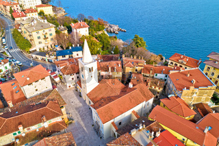 Town of Lovran historic center archutecture aerial view