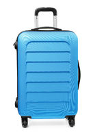 Front view of blue plastic suitcase