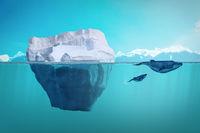 Iceberg and whales underwater view. Oceanic ecosystem