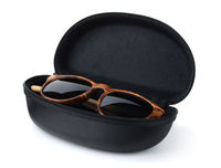 Sunglasses in hard black protective case