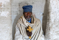 Orthodox Priest of the rock-hewn church Daniel Korkor, Gheralta mountains, Tigray, Ethiopia