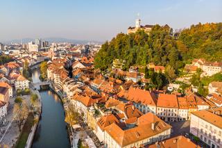 Cityscape of Ljubljana, capital of Slovenia in warm afternoon sun.