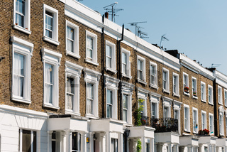 Townhouses with brick facade in Notting Hill in London