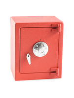Red safe isolated on white background. Security and finance concept.
