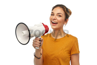 young woman or teenage girl with megaphone