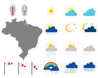 Karte von Brasilien mit Wettersymbolen - Map of Brazil with weather symbols