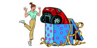 woman surprise car gift. isolate on white background