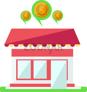 House with talk bubbles above money talk white background vector illustrator.