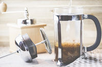 Coffee, from grinding the beans to the finished drink, French Press