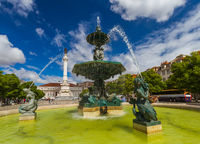 Rossio square with fountain - Lisbon Portugal