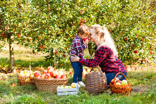 Woman and a girl at the orchard