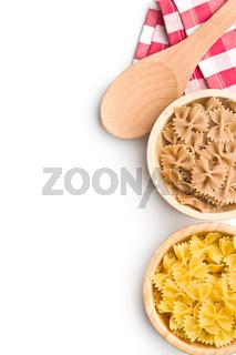 Wholewheat farfalle pasta. Tasty italian pasta.