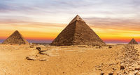 The Great Pyramids and the sunset in Giza, Cairo, Egypt