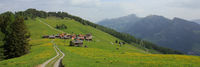 Village Obermutten and mountain range, Canton of Grisons, Switzerland.