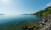 panorama landscape of the mountains and Lake Geneva near Montreux