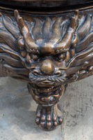 Dragon head sculpture in a buddhist temple